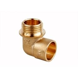 Cot alamă G1/2 pentru racordare țeavă fier/ plastic- țeavă cupru, filet exerior